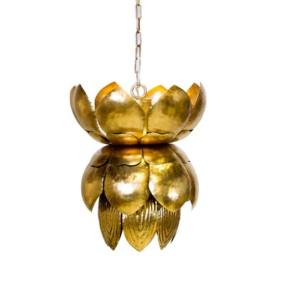 Metal 1-Light Mini Pendant with Leaves Finish: Gold
