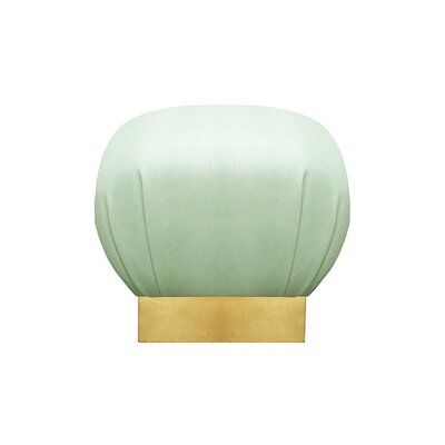 Pouf Upholstery: Green, Finish: Gold Leaf