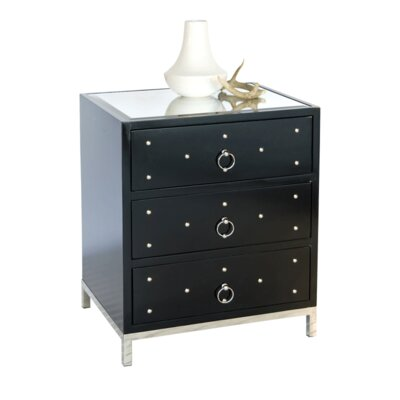 3 Drawer Nightstand Finish: Black Lacquer