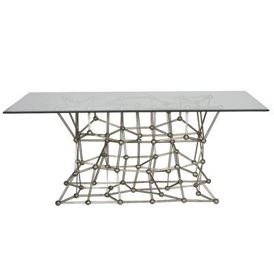 Iron Dining Table with Glass Top Finish: Silver Leaf