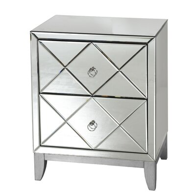 2 Drawer Mirrored End Table