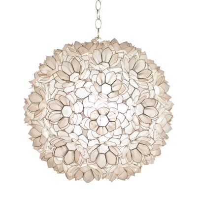 Capiz Shell Lotus 1-Light Globe Pendant