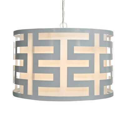 Greek Key 3-Light Drum Pendant Finish: White Powder Coat
