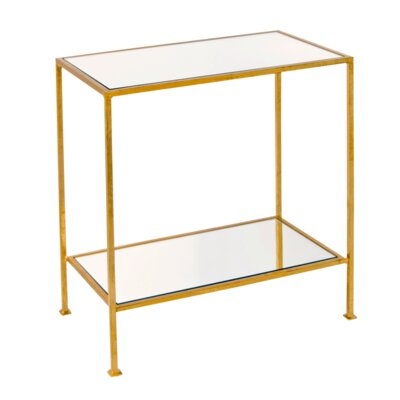 2 Tier Rectangular End Table Color: Gold Leaf