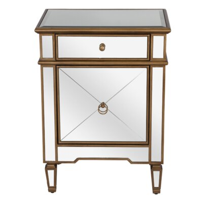 Mirrored 1 Drawer Nightstand Color: Painted Gold