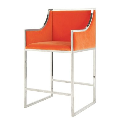 25.5 Bar Stool Base Color: Nickel, Upholstery: Velvet-Orange