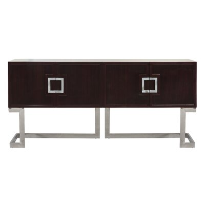 Media Console Table Finish: Rosewood/Stainless Steel