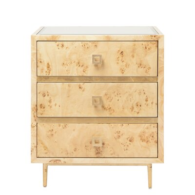 3 Drawer End Table Color: Burl Wood/Gold Leaf