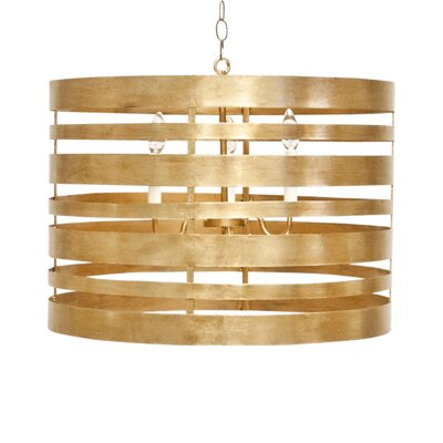 Striped Metal 3-Light Drum Pendant Finish: Gold