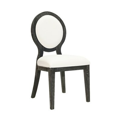 Oval Upholstered Dining Chair Frame Color: Black Cerused, Upholstery Color: White Vinyl