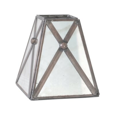 Antique Mirror 4 Bell Candelabra Shade with Crosshatch Detail