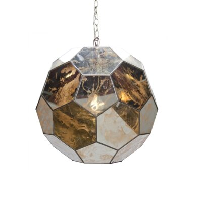 Faceted 1-Light Globe Pendant Size: 20 H x 20 W x 20 D