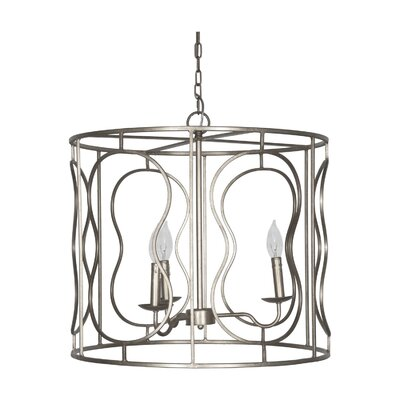 Iron 3-Light Drum Pendant Finish: Silver