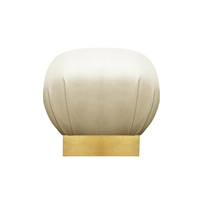 Pouf Upholstery: Beige, Finish: Gold Leaf