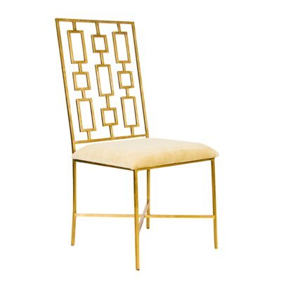 Upholstered Dining Chair Upholstery Color: Beige Velvet, Frame Color: Gold Leaf