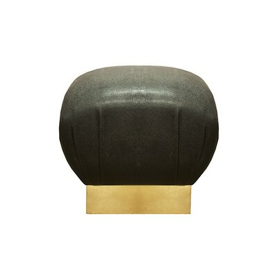 Pouf Upholstery: Black, Finish: Gold Leaf