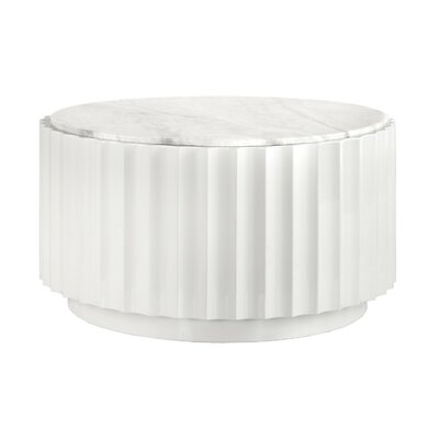 Scalloped Coffee Table Base Color: White Lacquer