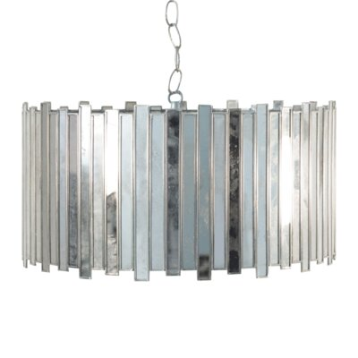Antique Mirror Faceted 1-Light Drum Pendant