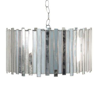 Antique Mirror Faceted 1-Light Drum Pendant