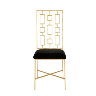Upholstered Dining Chair Frame Color: Gold Leaf, Upholstery Color: Black Velvet