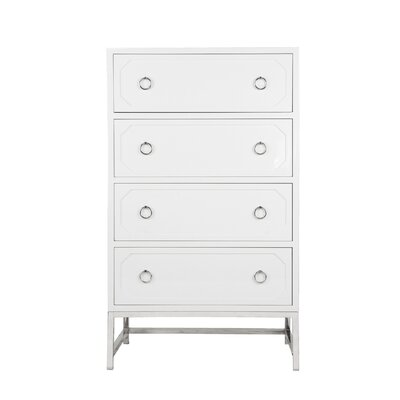 Upright 4 Drawer Dresser Color (Base/Top): White Lacquer/Nickel