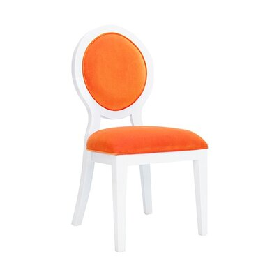 Oval Upholstered Dining Chair Upholstery Color: Orange Velvet, Frame Color: White Lacquer