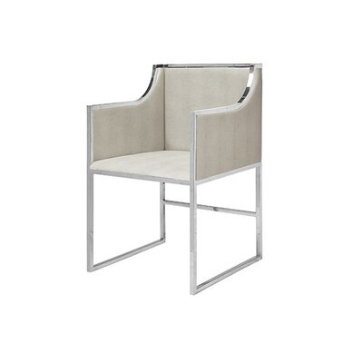 Upholstered Dining Chair Upholstery Color: Beige Faux Shagreen, Frame Color: Nickel