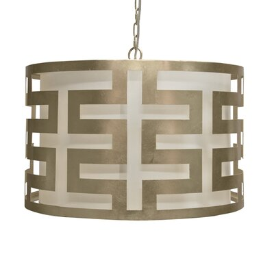 Greek Key 3-Light Drum Pendant Finish: Silver Leaf