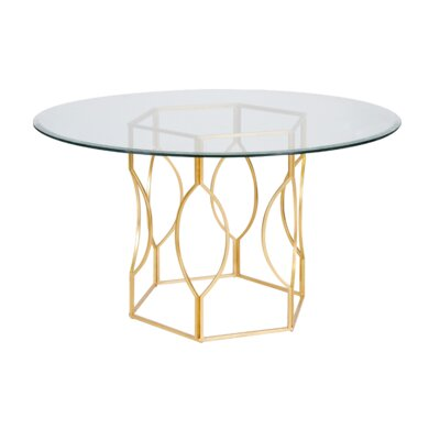 Hex Dining Table Finish: Gold Leaf, Size: 30 H x 48 W x 48 D