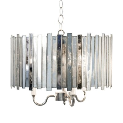 Antique Mirror Faceted 3-Light Drum Chandelier