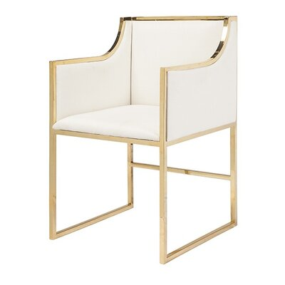 Upholstered Dining Chair Frame Color: Brass, Upholstery Color: White Linen