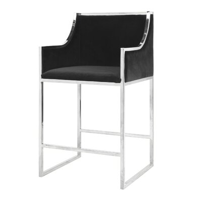 25.5 Bar Stool Base Color: Nickel, Upholstery: Velvet-Black
