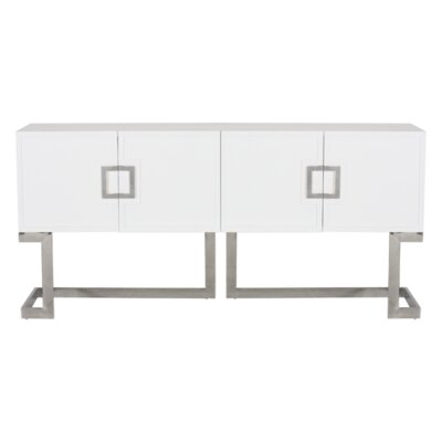 Media Console Table Finish: White Lacquer/Stainless Steel