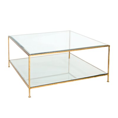 Coffee Table with Magazine Rack Finish: Hammered Gold