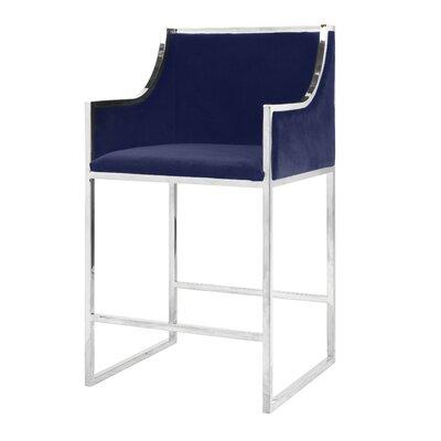 25.5 Bar Stool Base Color: Nickel, Upholstery: Velvet-Navy