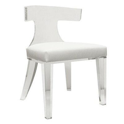 Klismos Acrylic Side Chair Upholstery: White Linen