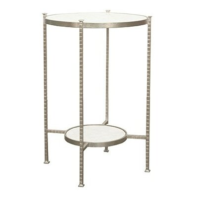2 Tier Hammered Iron End Table Color: Silver