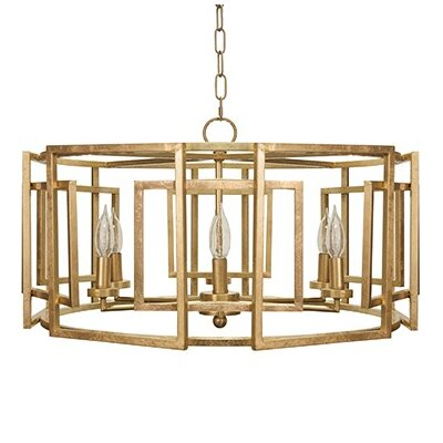 Motif 6-Light Drum Chandelier Finish: Gold Leaf