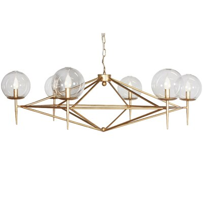 6-Light Candle-Style Chandelier Finish: Gold Leaf