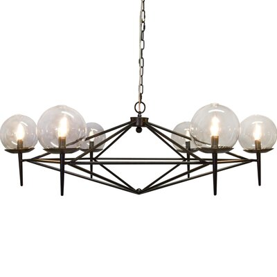 6-Light Candle-Style Chandelier Finish: Black Powder Coated