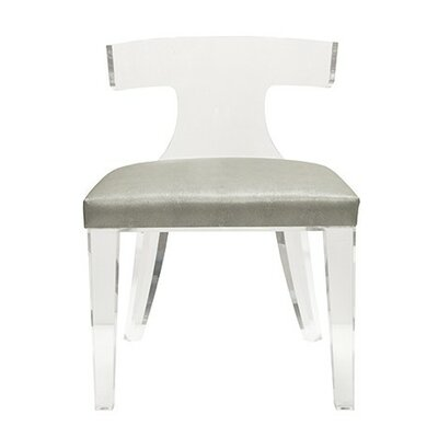 Klismos Acrylic Side Chair Upholstery: Grey Shagreen