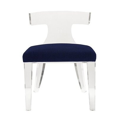 Klismos Acrylic Side Chair Upholstery: Navy Velvet