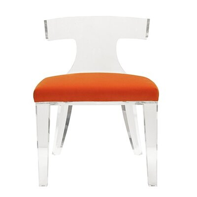 Klismos Acrylic Side Chair Upholstery: Orange Velvet