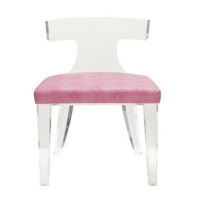 Klismos Acrylic Side Chair Upholstery Color: Pink Shagreen