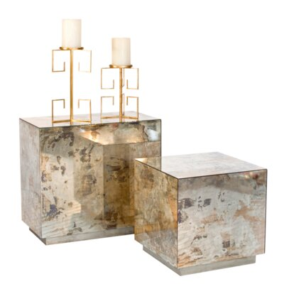 Reverse Mirror End Table Finish: Champagne Silver