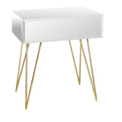 Mirrored 1 Drawer End Table