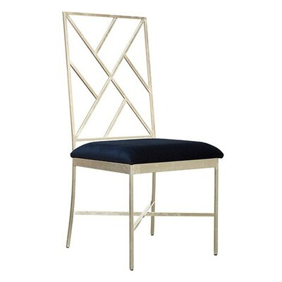 Fretwork Upholstered Dining Chair Upholstery Color: Navy Velvet, Finish: Silver Leaf