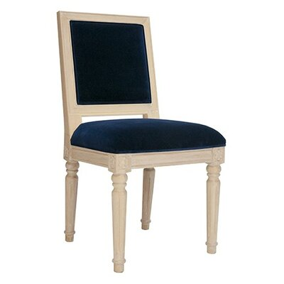 Side Chair Upholstery Color: Navy Velvet, Frame Color: Cerused Oak