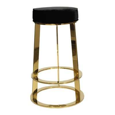 28 Bar Stool Base Color: Nickel, Upholstery: Velvet-Black
