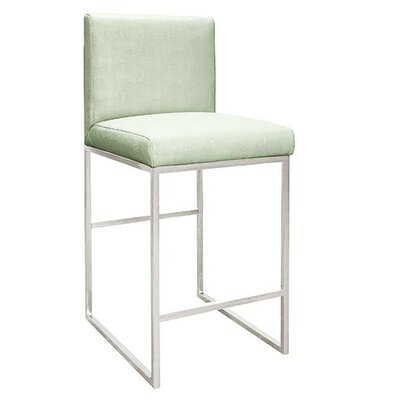 28 Faux Shagreen Bar Stool Finish: Brass, Upholstery: Pearly Green